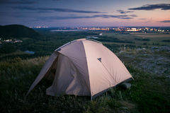 Tent and city lights Royalty Free Stock Images