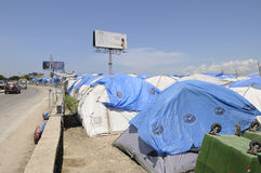 Tent city in Port-Au-Prince. Royalty Free Stock Photo