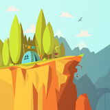 Tent On A Cliff Illustration. Hiking and tourism in the mountains background with tent on a cliff cartoon vector illustration Stock Photo