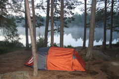 A tent close to the little lake in the deep forest. A tent close to the lake in early morning hours, early, orange tent with trees around, tree trunks, pine Stock Image