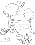 Tent coloring page vector illustration
