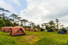 Tent comping in the mountains Royalty Free Stock Image