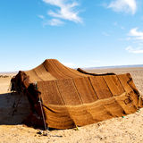 tent in  the desert     of morocco sahara and rock  stone    sky Stock Image