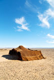 tent in  the desert of morocco    stone    sky Stock Photography