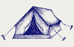 Tent. Doodle style. Vector illustration Stock Photo