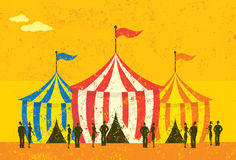 Tent Event. People at an event with circus tents. The people, circus tents, and background are on separately labeled layers vector illustration