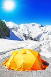 The tent of Everest Base Camp. Climbing and mountaineering sport. Nepal mountains Stock Image