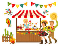Tent Festa Junina Brazilian Apple Candy. June Party Festival. Vector Illustration royalty free illustration