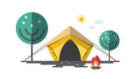 Tent with Fire and Trees. Camping Vector Concept. Tent with Fire and Trees. Camping Vector Flat Design Illustration royalty free illustration