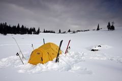 Tent fitted with skis in snow. In winter Stock Photography