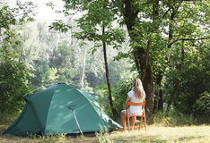Tent in forest Stock Image