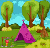 Tent in forest. Illustration of landscape purple tent in forest Royalty Free Stock Photos