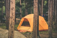 Tent in the Forest Camping stock photography