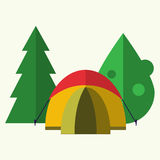 Tent in forest. Camping. Vector illustration made in flat design style. Camping concept with tent and trees. For web design and apps Royalty Free Stock Images