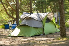 Tent in forest.JH. Tent on camping ground in a forest on the island Gotland in Sweden.JH stock images