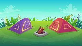 Tent at forest rest camping at red tent with food picnick . tourism weekend at green grass field and trees , nature plants . beaut. Iful serenity cheerful royalty free illustration