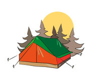 Tent in Forest. A tent in the forest with sun in the background. EPS Stock Image