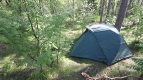 Tent in forest stock footage