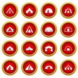 Tent forms icon red circle set. Isolated on white background Stock Photography