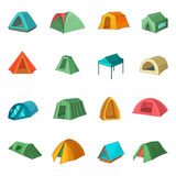 Tent forms icons set, cartoon style Royalty Free Stock Images