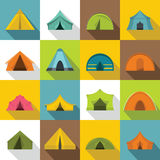 Tent forms icons set, flat style Stock Images