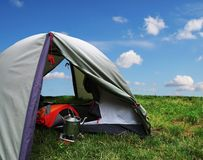 Tent on grass Stock Photos