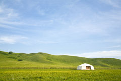 Tent in the grassland Royalty Free Stock Image