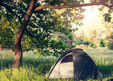 Tent on grassland Royalty Free Stock Photography