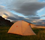 Tent on grassland Stock Images