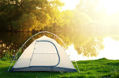 Tent on grassland Royalty Free Stock Images