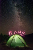 Tent. Green tent under light of milky way stock photography