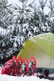 Tent in het de winterbos Stock Foto