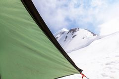 Tent in high mountains Royalty Free Stock Photography