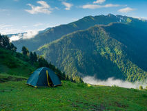 Tent in the hikers camp. In mountains royalty free stock photos