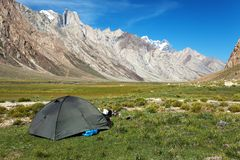 Tent in Himalayan mountains Stock Photo