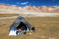 Tent in Himalayan mountains - near Tso Moriri lake royalty free stock photo