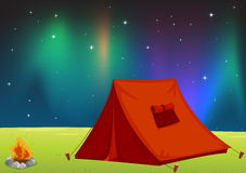 Tent house. Illustration of a tent house and stars in night sky Stock Photos