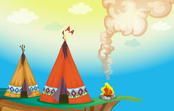 Tent house and fire. Illustration of a tent house and fire in a beautiful nature Stock Photography