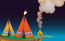 Tent house and fire. Illustration of a tent house and fire in a dark night Royalty Free Stock Photos