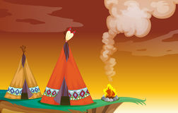 Tent house and fire. Illustration of a tent house and a fire in nature Stock Image