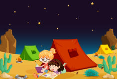 Tent house and girl reading books Royalty Free Stock Photos