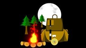 A bonfire and a tent house.