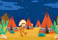 Tent house and kid. Illustration of a tent house and a kid Stock Photo