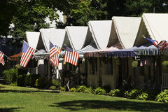 Tent Houses in Ocean Grove, NJ. Ocean Grove, NJ USA -- August 28, 2014 Tent houses flying American flags in Ocean Grove, NJ. Editorial Use Only Royalty Free Stock Image