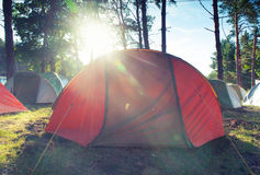 Tent i skogen Arkivbild