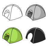 Tent icon in cartoon style isolated on white background. Ski resort symbol stock vector illustration. Stock Photography