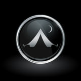 Tent icon inside round silver and black emblem Royalty Free Stock Photos