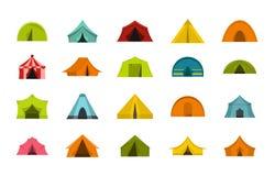 Tent icon set, flat style royalty free illustration