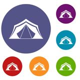 Tent icons set Stock Images