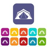 Tent icons set Royalty Free Stock Photography